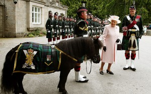 Queen Elizabeth II talks to Pony Major Mark Wilkinson with regimental mascot Cruachan IV as she inspects 2 Scots The Royal Regiment of Scotland as she takes up summer residence at Balmoral. PRESS ASSOCIATION Photo. Picture date: Monday August 10, 2015. Photo credit should read: Andrew Milligan/PA Wire